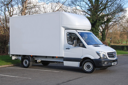 White Mercedes Benz Luton Van